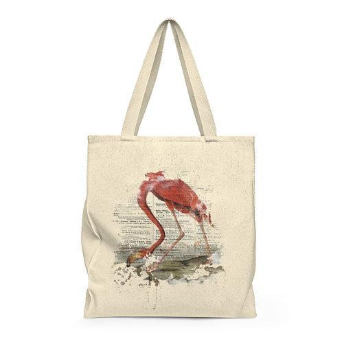 Flamingo Collage Shoulder Tote Bag - Roomy
