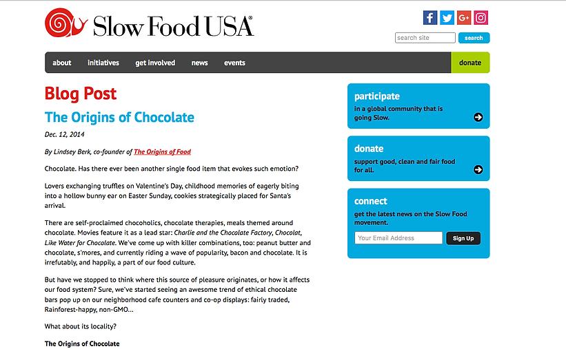 Slow Food USA Blog - The Origins of Chocolate