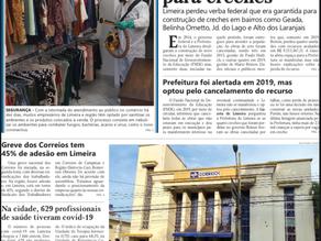 Trabalho de desinfecção da Brill é capa do Jornal Gazeta de Limeira...