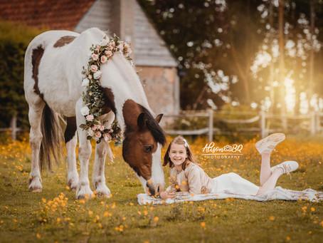 Communie fotoshoot met een paard