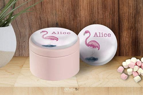 Metalen doosje met magneet - Flamingo
