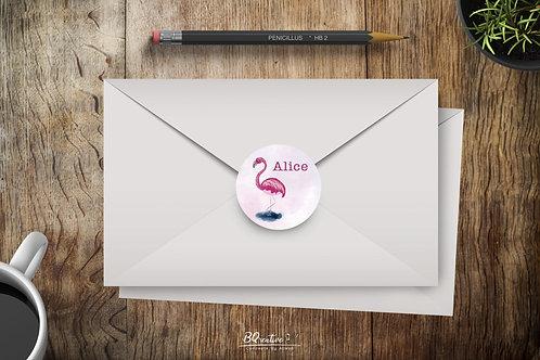 Ronde sticker - Flamingo