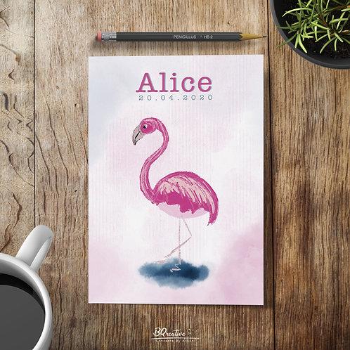 Geboortekaartje - Flamingo