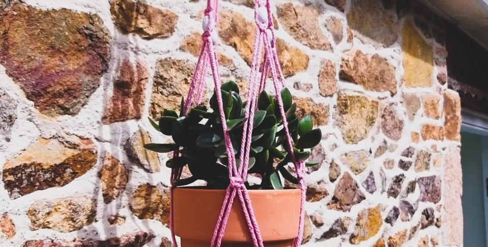 Rope Pot Hanger Pink Macrame