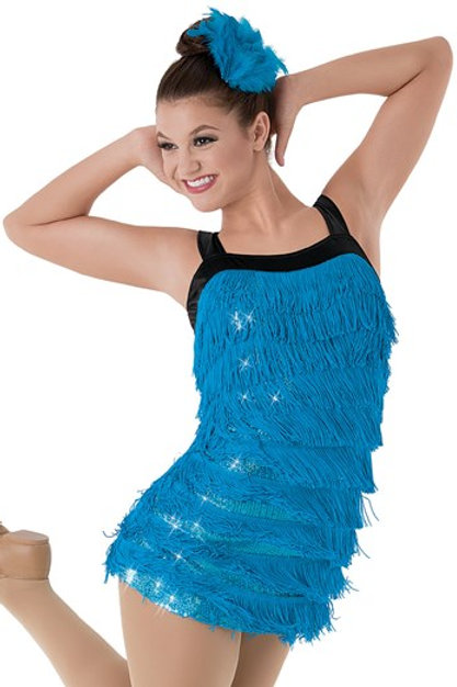 Peacock Blue Fringe Dress