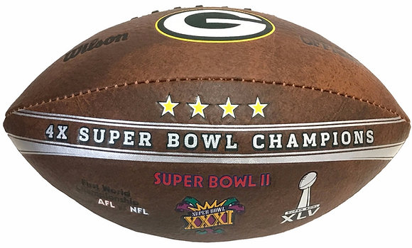 "Green Bay Packers 9"" Commemorative Super Bowl Champs Football"
