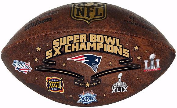 """New England Patriots 9"""" Commemorative Super Bowl Champs Football"""