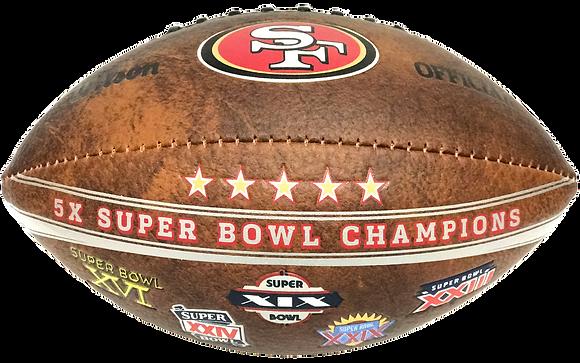 """San Francisco 49ers 9"""" Commemorative Super Bowl Champs Football"""