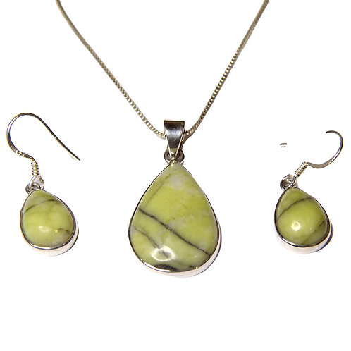 SCOTTISH MARBLE NECKLACE AND EARRING SET IN STERLING SILVER