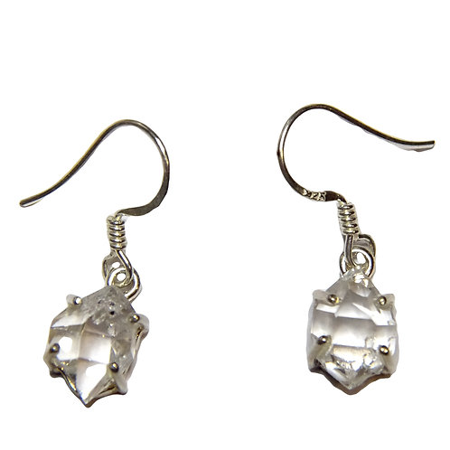HERKIMER DIAMOND DROP EARRINGS SET IN STERLING SILVER