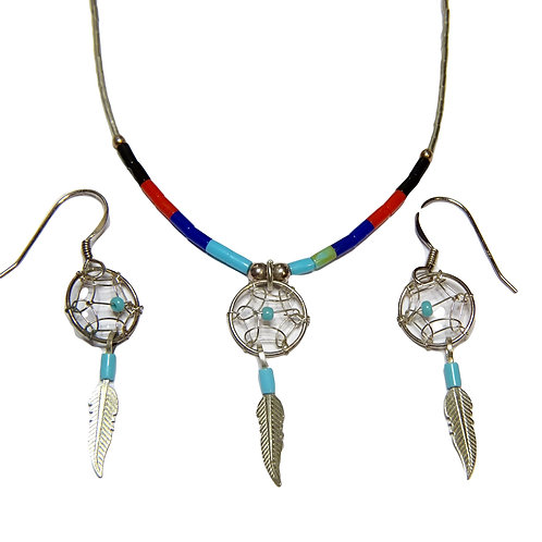 STERLING SILVER DREAMCATCHER NECKLACE & DROP EARRINGS WITH TURQUOISE & FEATHERS