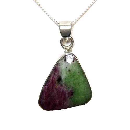 "RUBY IN ZOISITE PENDANT IN STERLING SILVER ON 18"" STERLING SILVER BOX CHAIN"