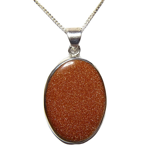 "GOLDSTONE BROWN STERLING SILVER PENDANT ON 18"" STERLING SILVER BOX CHAIN"