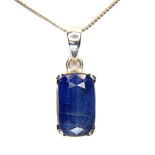 "KYANITE STERLING SILVER PENDANT ON 18"" STERLING SILVER BOX CHAIN"