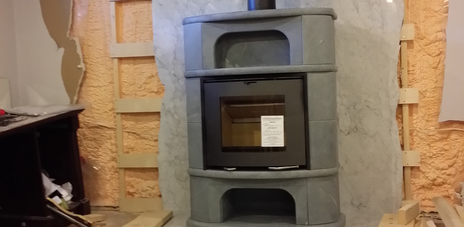 Scan Wood Fireplace Insert with Kojo Soapstone surround