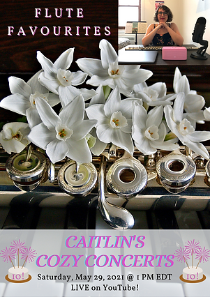 Caitlin's Cozy Concerts poster with a flute and white flowers