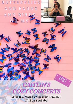Caitlin's Cozy Concerts #8 poster with a pink background and butterflies all across