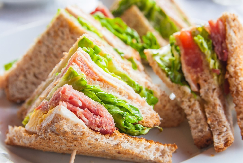 Close up of club sandwiches