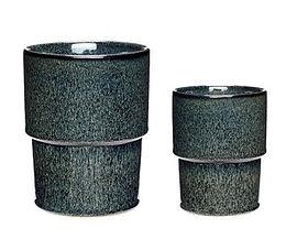 Ceramic plant pot Blue/Green set of 2