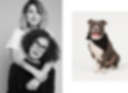 Photo des créatrices de la marque CHIN-CHIEN : Martine Gendrot et Léa Gendrot. Photo d'un chien avec un bandana de la marque CHIEN-CHIEN.
