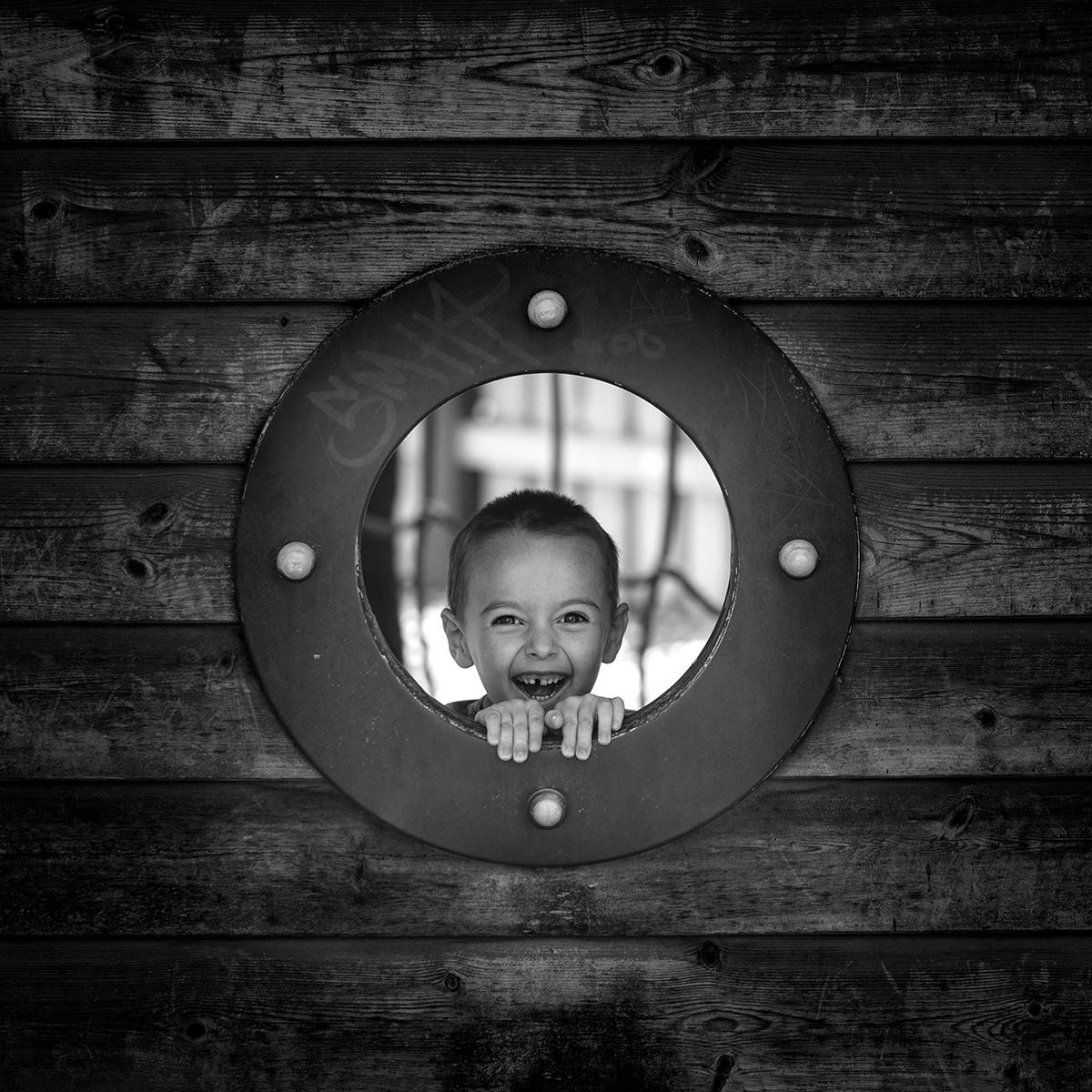 Black and White Cheeky Boy Portrait