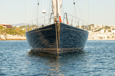 Sailing yacht photographed on anchor in Mallorca