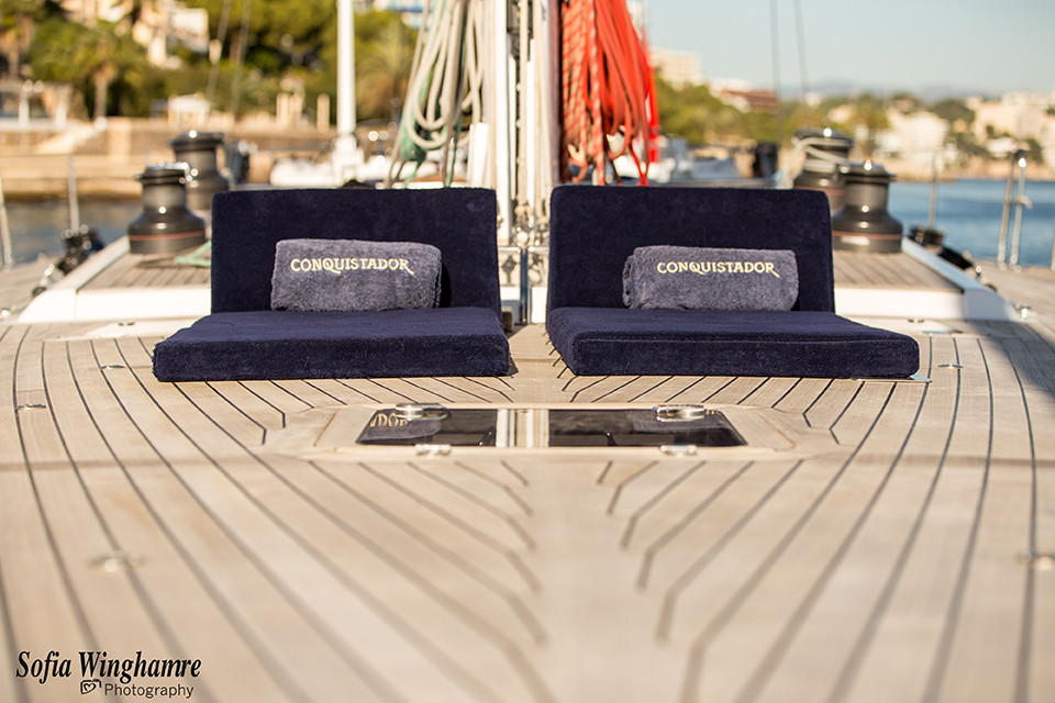 the deck of a sail yacht photographed in mallorca