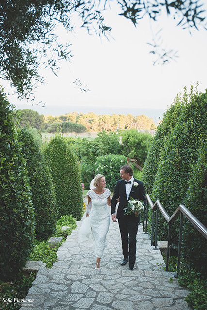 The newly wed, walking up to dinner