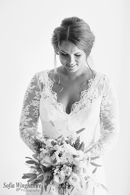 The beautiful bride on her wedding day