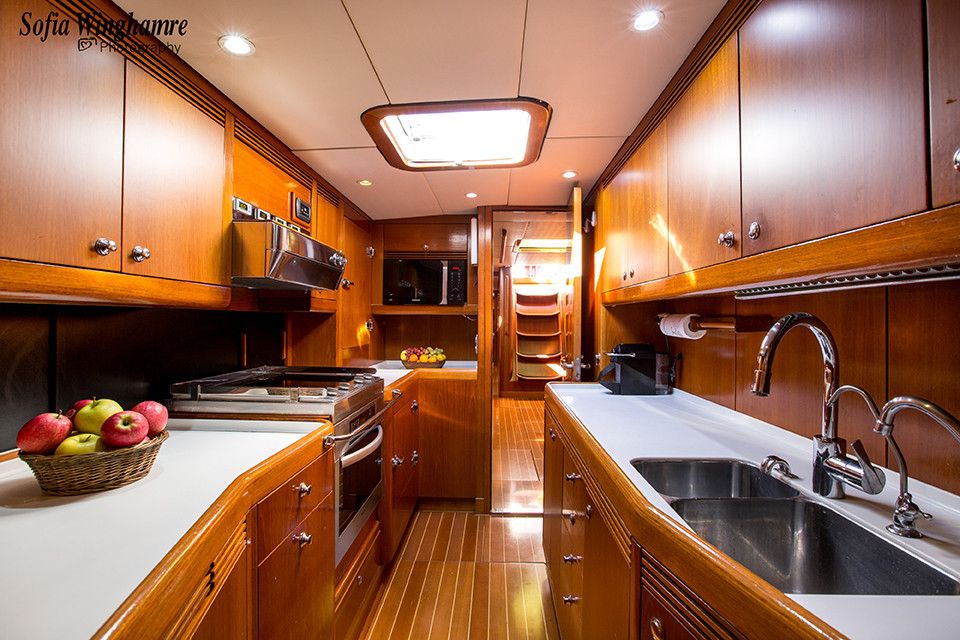 the galley photographed on board a sail yacht