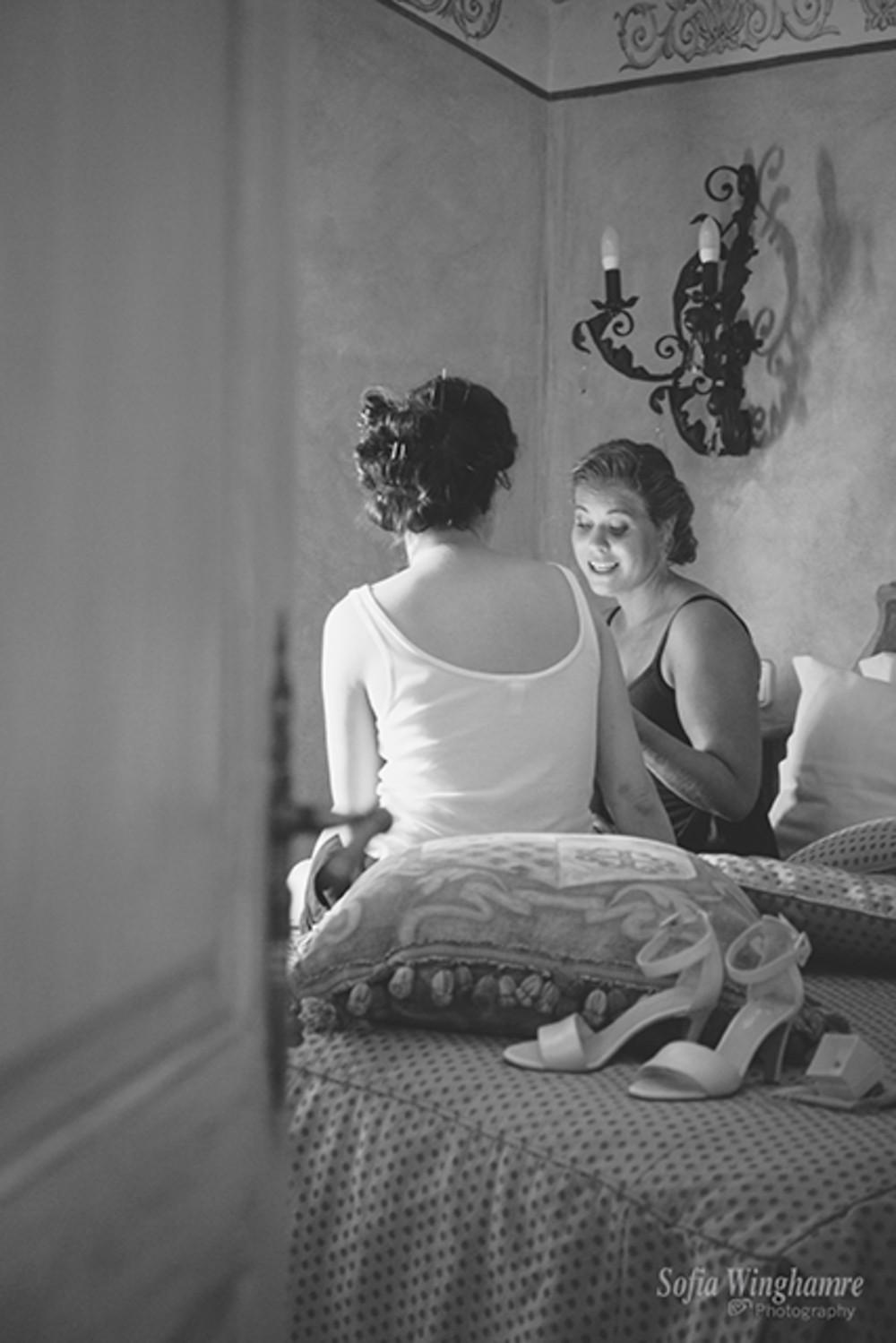 The bridesmaids preparing their songs