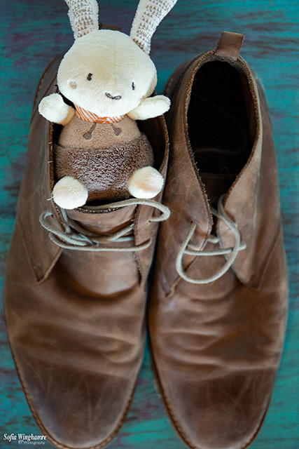 Wedding details photographed, a little bunny toy in the grooms shoes