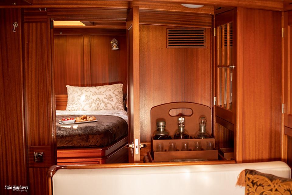 Interior of a classic sail yacht photographed in Palma de Mallorca