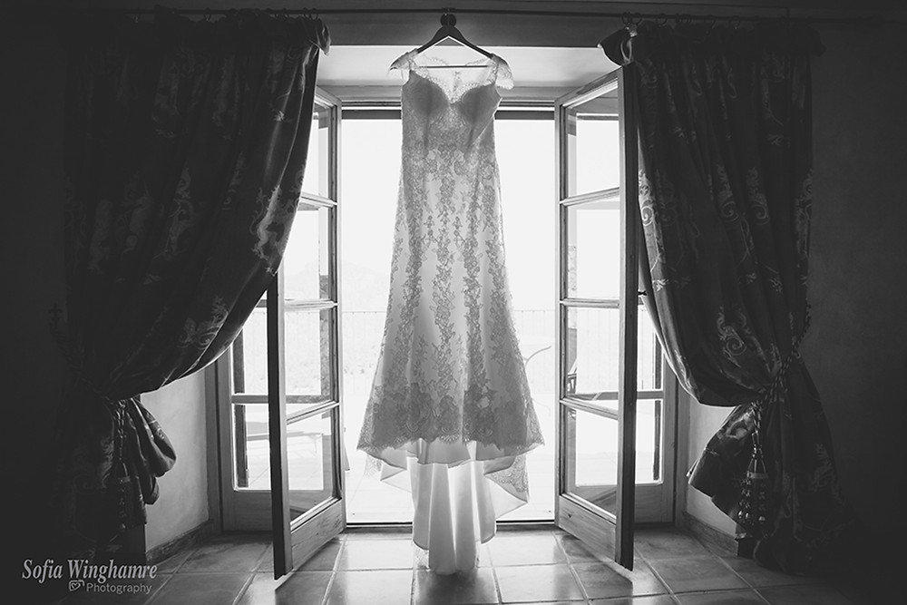 the wedding dress photographed before the ceremony in Deia