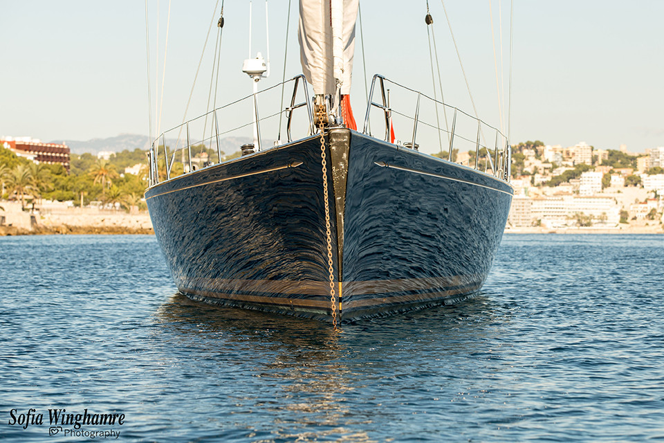 Bow of yacht photographed in Mallorca