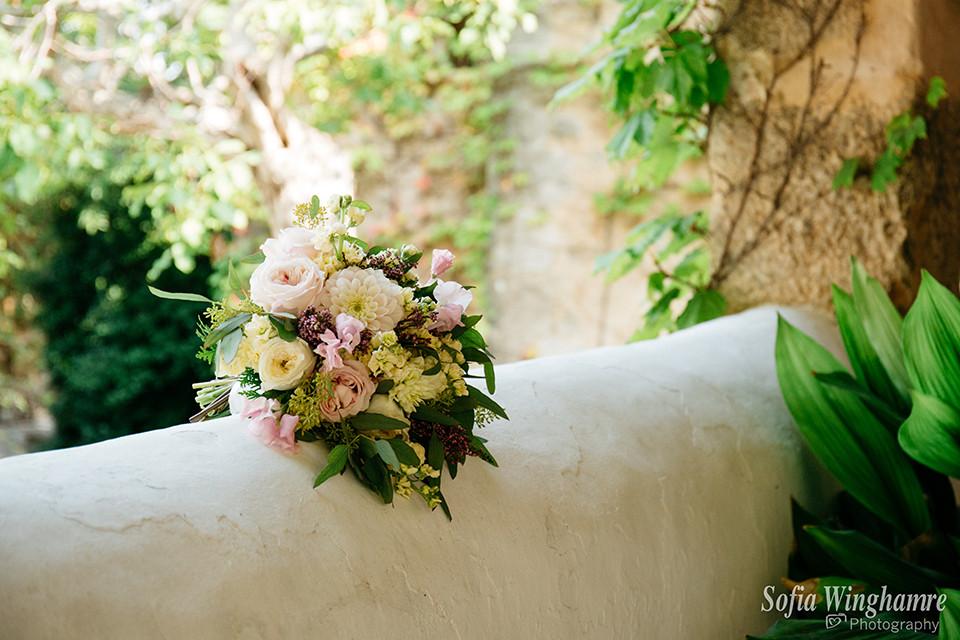 Beautiful wedding bouquet in Mallorca
