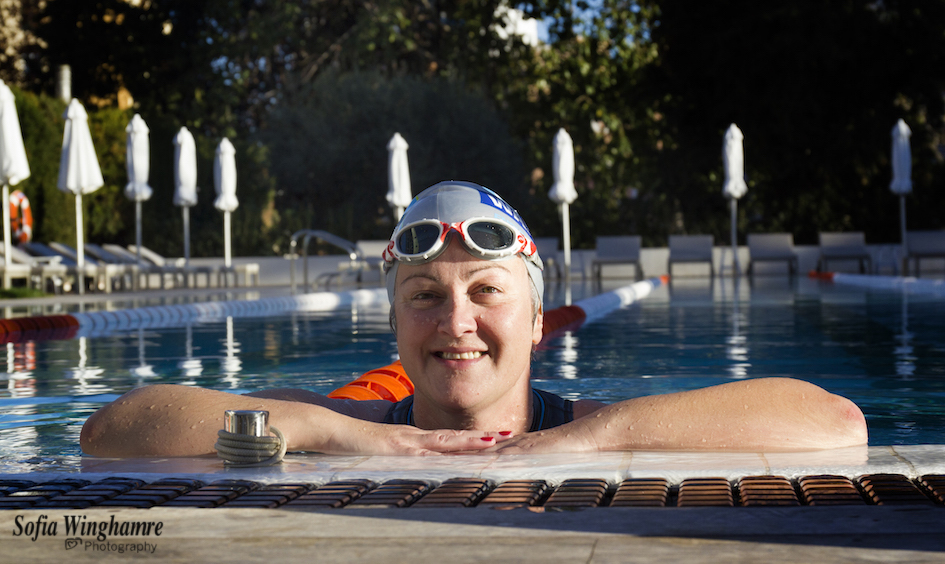 Portrait of long-distance swimmer
