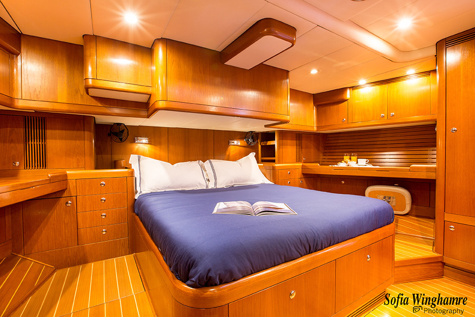 interior of yacht photographed in Mallorca