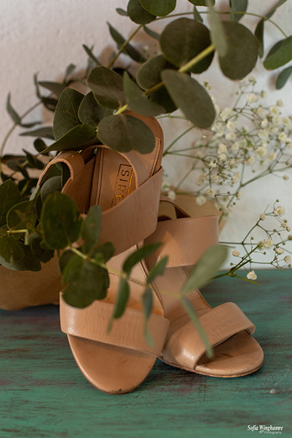 Wedding shoes photographed before the ceremony in Mallorca
