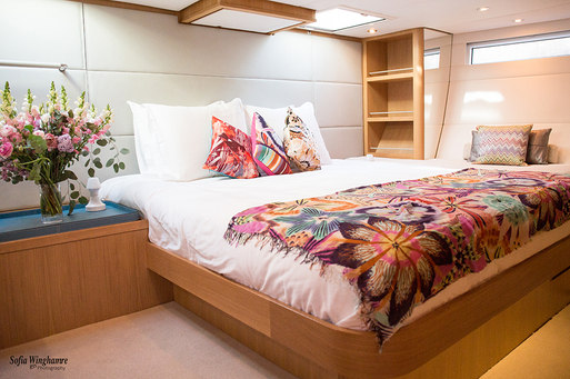 Interior of sailing yacht photographed in Mallorca