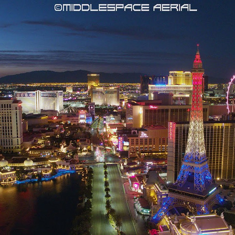 The Las Vegas Strip Aerial Drone Footage Twilight Edition - Hotel Window Lights During COVID-19