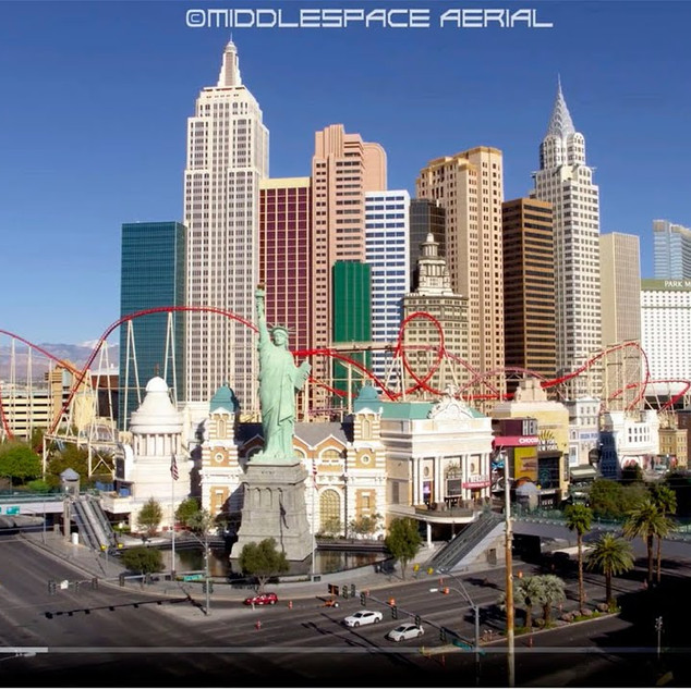 The Las Vegas Strip (Empty & No People Aerial Drone Footage during COVID-19 Pandemic)