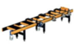 Train de rouleaux avec évacuateur