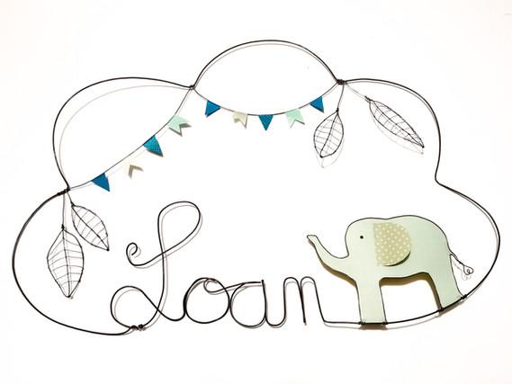 décoration murale prénom éléphant