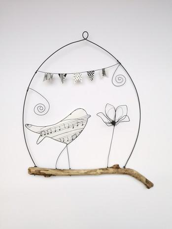 suspension l'oiseau musicien et sa fleur