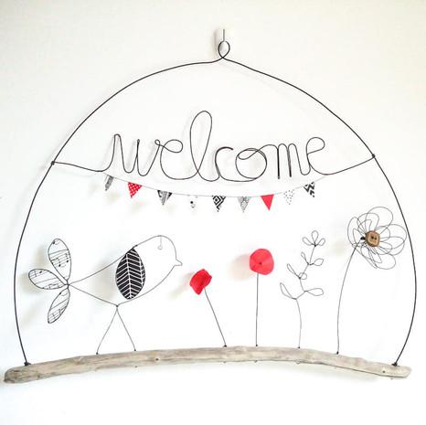 suspension welcome oiseau et fleurs en fil de fer