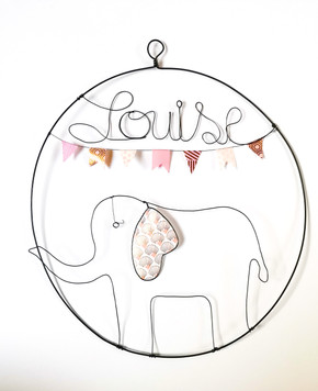 décoration murale cercle prénom éléphant