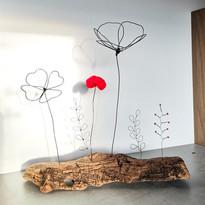 composition bois flotté fleurs