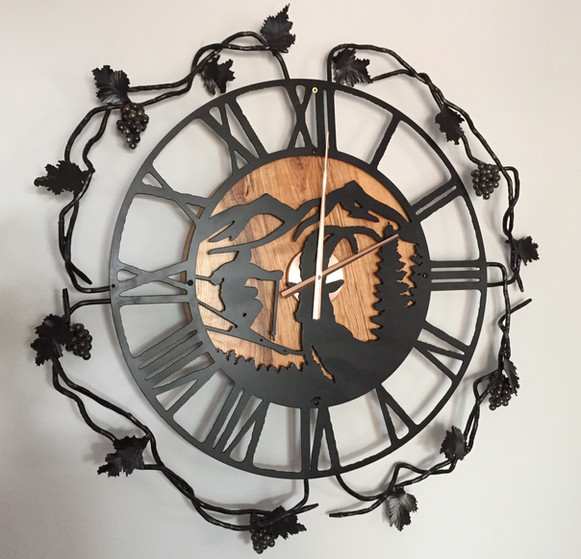 Artisan Clock and Custom Grape Vine Surround Sculpture