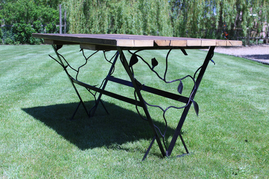 Bespoke Garden Table with Indiustrial Metal Frame and Natural Vines and Leaves